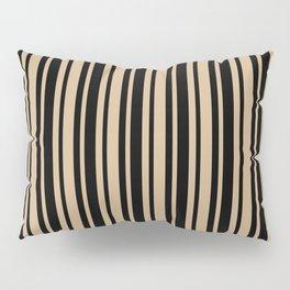 Tan Brown and Black Vertical Var Size Stripes Pillow Sham
