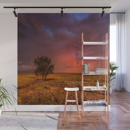 Fire Within - Red Sky and Rainbow Over Lone Tree on Great Plains Wall Mural