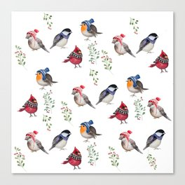 Birds of a Christmas feather Canvas Print