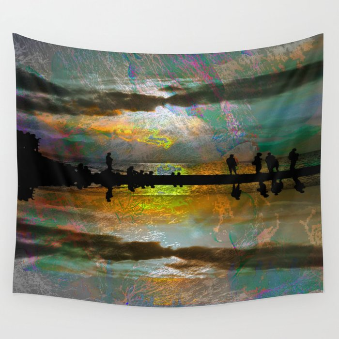 Abstract-art sunset Wall Tapestry