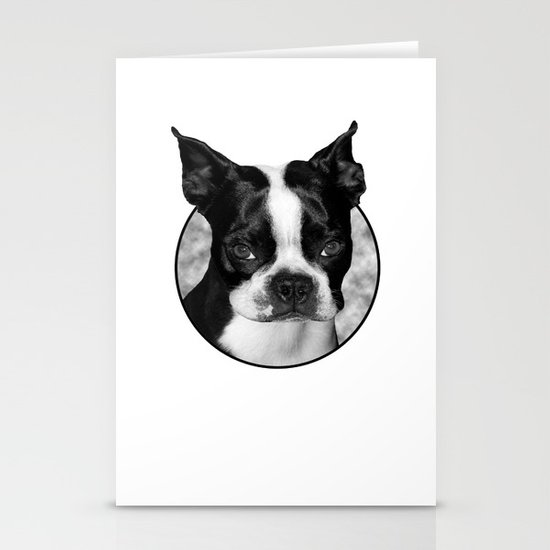 Boston Terrier Head Shot Stationery Cards