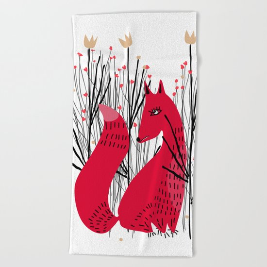 Fox in Shrub Beach Towel