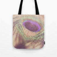 peacock feather Tote Bags featuring Peacock Feather by Jessica Torres Photography