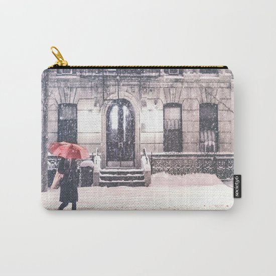New York City Snow and Red Umbrella Carry-All Pouch