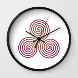 St. Patrick's Day Celtic Red Triskelion #2 Wall Clock