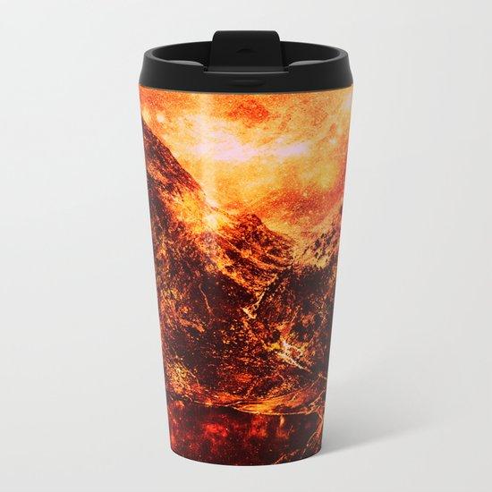 Fiery galaxy Mountains Metal Travel Mug
