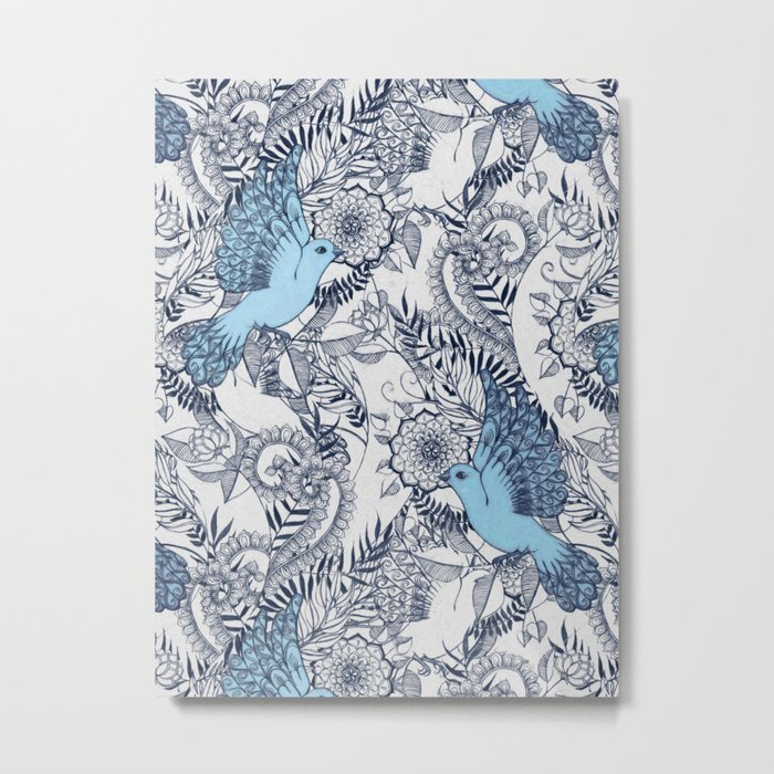 Flight of Fancy - navy, blue, grey Metal Print