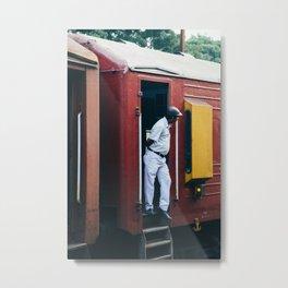 Man in Train Metal Print