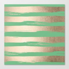 Painted Stripes Gold Tropical Green Canvas Print