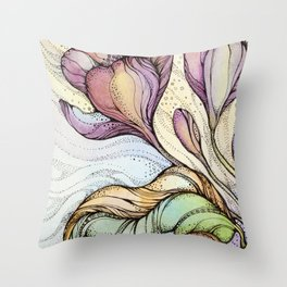 Crocus.Hand drawn watercolor and ink drawing Throw Pillow