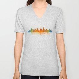 Austin Texas, City Skyline, watercolor  Cityscape Hq v3 Unisex V-Neck