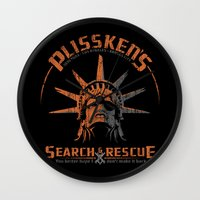 discount Wall Clocks featuring Snake Plissken's Search & Rescue Pty. Ltd. by 6amcrisis