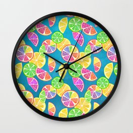 Fruit Slice Pattern on Teal Wall Clock