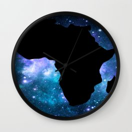 Africa : Teal Blue Violet Galaxy Wall Clock