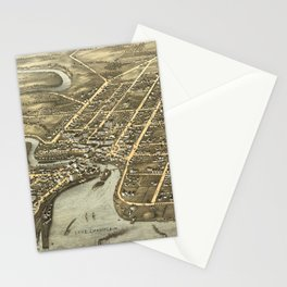 Vintage Pictorial Map of Plattsburgh NY (1877) Stationery Cards