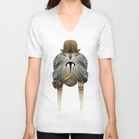 walrus V-neck T-shirts featuring walrus by Manoou