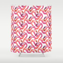 Woven flamingoes on white Shower Curtain