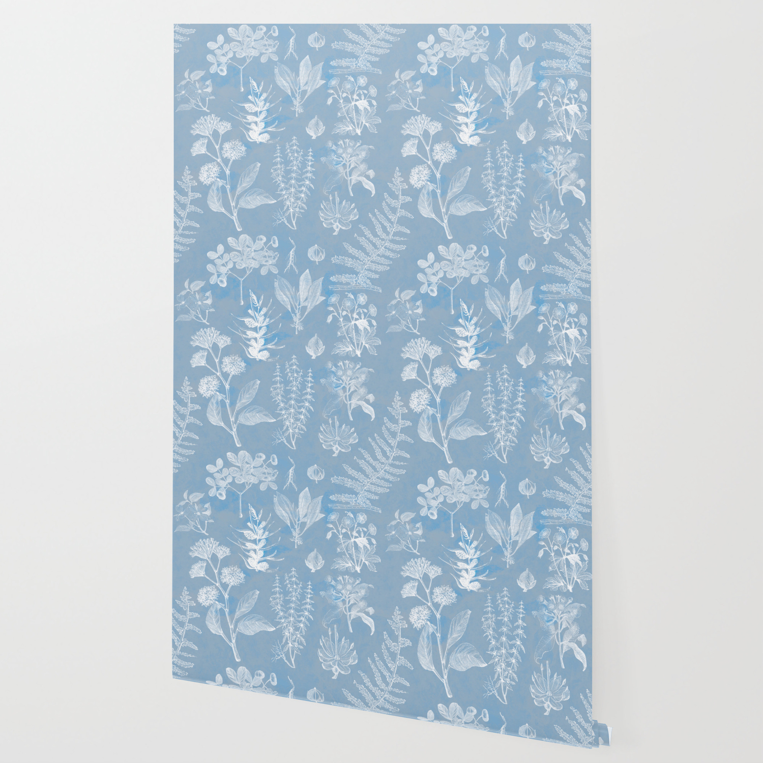 Baby Blue Vintage Floral Wallpaper By Themaxwells Society6