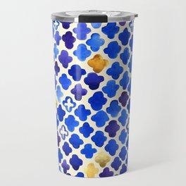 Rustic Watercolor Moroccan in Royal Blue & Gold Travel Mug