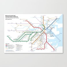 Boston Rapid Transit Map - With Bus Routes Canvas Print