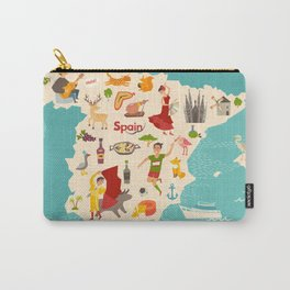 Spain map vector. Illustrated map of Spain for children Carry-All Pouch