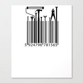 Funny Worker Tradesman Barcode Tool Canvas Print