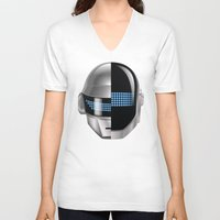tron V-neck T-shirts featuring Daft Punk - Tron Legacy by Hayes Johnson