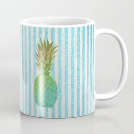 Gold and blue pineapple over blue strips Coffee Mug