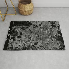 Santiago Black Map Rug