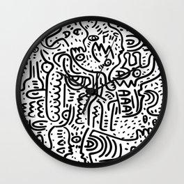 Street Art Graffiti Love Black and White Wall Clock