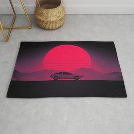 Sunset Future Car Drive Rug