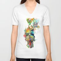 black and gold V-neck T-shirts featuring Dream Theory by Archan Nair