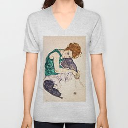 Egon Schiele - Seated Woman With Legs Drawn Up Unisex V-Neck