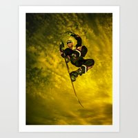 snowboarding Art Prints featuring Snowboarding #1  by Bruce Stanfield