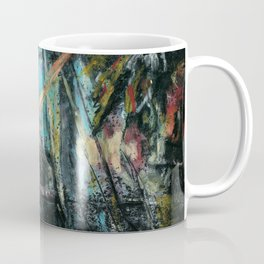 View from my window early in the morning. Abstract oil pastel background Coffee Mug