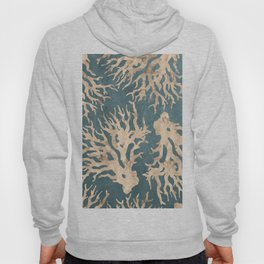 Coral teal - scratched leather Hoody