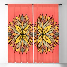 Colorful Floral Mandala Abstract Yellow Coral Blackout Curtain