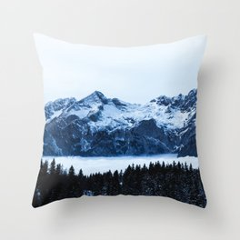 Mountains, spruce forest and clouds Throw Pillow