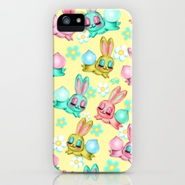 Bunnies and Daisies on Yellow iPhone Case