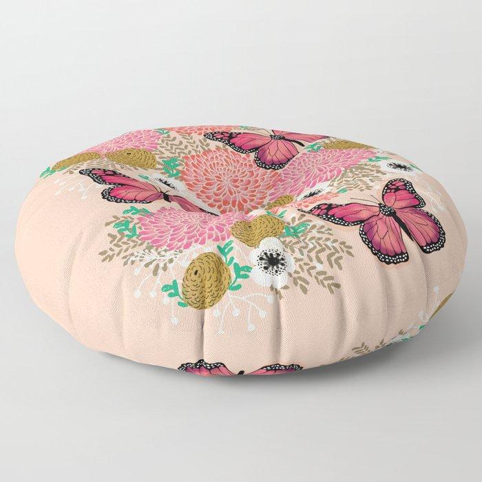 Monarch Florals by Andrea Lauren  Floor Pillow