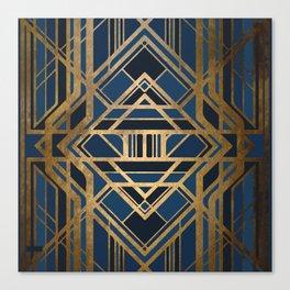 Art Deco Square Tuesdays In Blue Canvas Print