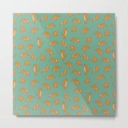 Orange Tabby Tiling Pattern Metal Print