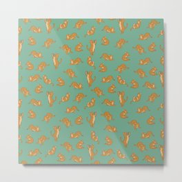 Orange Tabby Tiling Pattern Metal Print
