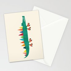 Crocodile on Roller Skates Stationery Cards