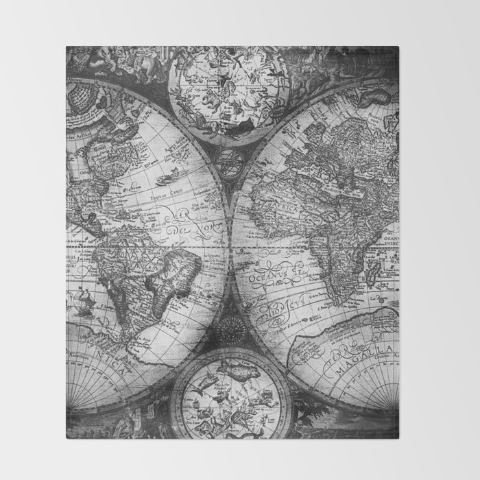 World map antique vintage black and white throw blanket by world map antique vintage black and white throw blanket gumiabroncs Choice Image