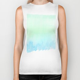 Hand painted turquoise teal blue watercolor ombre brushstrokes Biker Tank