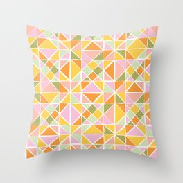 Cute Citrus Geometric Quilt Design Pattern Throw Pillow