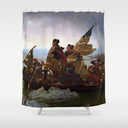 George Washington Crossing Of The Delaware River Painting Shower Curtain