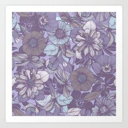Hellebore lineart florals | soft winter Art Print