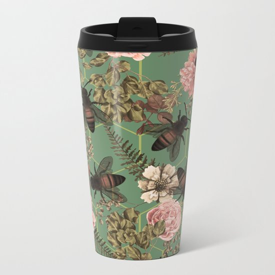 Bees Pattern Metal Travel Mug